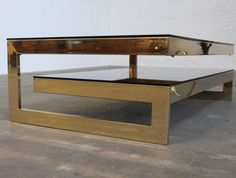 G Shaped 23 Karat Gold Plated Two Level Coffee Table Maison Jansen