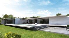 Cette maison d'architecte, se situe sur les Monts d'Or Lyonnais. Elle a été pensée et dessinée par les architectes d'a2-sb. Il s'agit d'une maison de plain-pied, pour un couple et ses deux enfants. S'étendant sur un large terrain en légère pente, elle répond à
