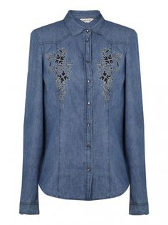 Chemise en jean à motifs