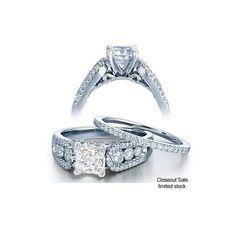Alluring Diamond Bridal Ring Set 0 62 Carat Princess Cut On 10k Gold Wedding Sets Pinterest And