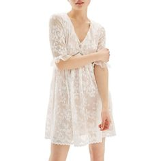 Women's Topshop Ruffle Trim Lace Dress ($35) ❤ liked on Polyvore featuring dresses, white, white lace dress, white mini dress, white cocktail dress, lace mini dress and short lace dress