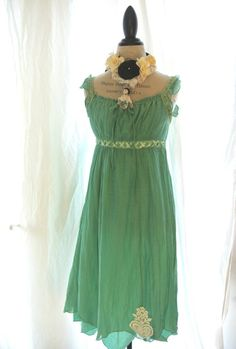 Romantic mori girl dress, forest girl sundress, womens clothing, braided, ruffle, womens clothing, upcycled. $68.00, via Etsy.