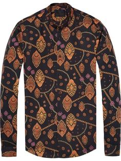 Collarless Shirt With Embroidery | Slim fit | Shirts ls | Men Clothing at Scotch & Soda