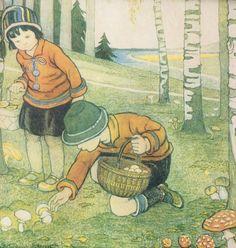 Mushroom pickers 1930-1940 nursery wall decoration