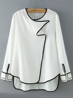 White Round Neck Contrast Trims Dip Hem Blouse-Romwe