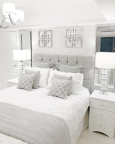 Light, bright, and pretty master bedroom.