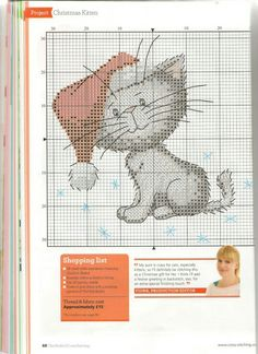 Patron chat de Noël point de croix