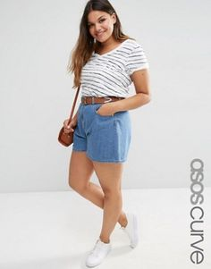 ASOS CURVE Culotte Denim Shorts