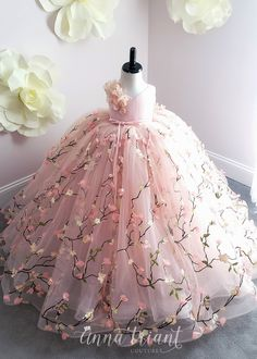 View All Gowns at Anna Triant Couture, Page 5 Frocks For Girls, Kids Frocks, Gowns For Girls, Dresses Kids Girl, Kids Outfits, Flower Girl Dresses, Little Girl Gowns, Baby Frocks Designs, Kids Gown