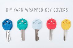 DIY: Yarn Wrapped Key Covers. It's actually embroidery floss, but you could use laceweight yarn, or fingering.