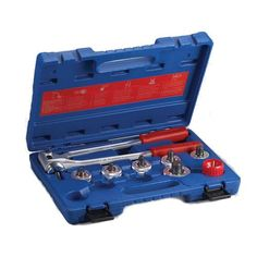 "Tube Expander Kit   Tube Expander Kit # Expands 3/8"" to 1-1/8"" O.D. tubing # Provides precise swaging on the job # Able to re-round deformed tube and fitting ends # Salvage shorts and scrap to make couplings # Includes handles, six expander heads, deburring tool and steel carrying case  http://www.cheapindustrial.com/tube-expander-kit/"