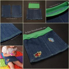 How to Make Denim Skirt from Old Jean in 4 Steps! Here is an easy way to make denim skirt for girls from old jean legs, it's great idea when you want to make your jean to shorts, and make two more skirts with the remaining parts to be a mother-daughter set. #upcycle #oldjeans #kidsdiy