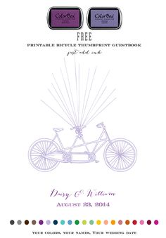 Free Tandem Bicycle Thumbprint Guestbook. Totally Customize with your colors, names & date. Just add ink + thumbprints.