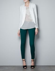 JACQUARD BLAZER - Blazers - Woman - ZARA United States White blazer