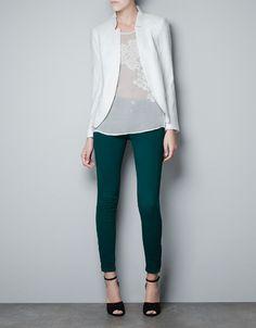 JACQUARD BLAZER - Blazers - Woman - ZARA United States White blazer Work Casual, Casual Chic, Casual Looks, Blazers For Women, Blouses For Women, Girl Fashion, Fashion Outfits, Womens Fashion, Power Dressing