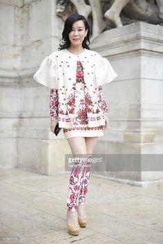 Asian Couture Federation Vice-President Emily Hwang poses before the Alexis Mabille presentation at the Opera Garnier on July 8, 2015 in Paris, France.  (Photo by Vanni Bassetti/Getty Images) http://elfashion.de/2015/08/street-style-paris/