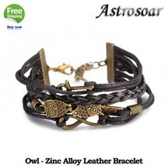 ASTROSOAR Leather Bracelet Retro Accessories Zinc Alloy Animal Shape Owl Bracelet