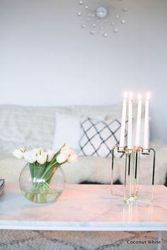 Be&liv Quartet - modernia kultaa olohuoneessa Living Room Inspiration, Living Room Kitchen, Candelabra, Minimalist Design, Coconut, Xmas, Room Decor, Organization, Cleaning