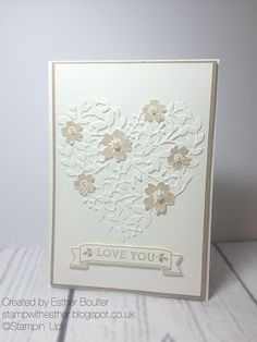 Stamp with Esther Bloomin' Love stamp set and Bloomin' Heart thinlits dies from Stampin' Up!
