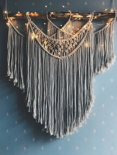 Macrame Wall Hanging, Woven Tapestry, Macrame, Decor by OhMyKnot on Etsy. Love the twinkle lights on this!