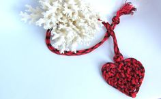 Knotted Heart Necklace Bookmark Luggage Tag Ornament Home Decor Valentines Day #Gift for Daughter Friend Sister in Red Black Plaid Paracord - pinned by pin4etsy.com
