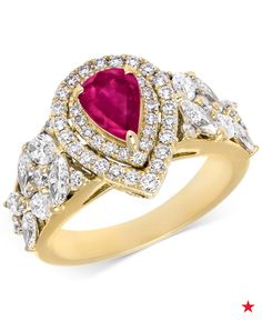 Pear-cut ruby and pear and round-cut diamonds make up this stunning certified ring from RARE Featuring GEMFIELDS, crafted of 14k gold.
