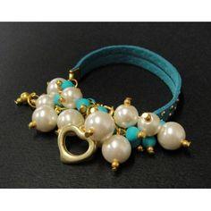 Pulsera de Moda con Perlas y Gamuza con Estoperoles