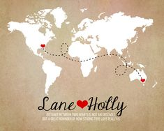 Long Distance World Map, Rustic Wedding Gift, Art Print, Custom Engagement Gifts, Anniversary, Names, Hearts, Deployment, Quote