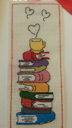 This post was discovered by Lale Erdemir. Discover (and save!) your own Posts on Unirazi.Books and coffee bookmark. Cross Stitch Books, Cross Stitch Bookmarks, Cross Stitch Borders, Cross Stitch Charts, Cross Stitch Designs, Cross Stitching, Cross Stitch Embroidery, Embroidery Patterns, Hand Embroidery