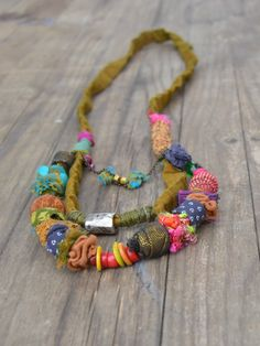 hand made textile jewlery .fabric jewlry.colorfull fabric necklace. one of a kind. door ornadesign op Etsy https://www.etsy.com/nl/listing/229840573/hand-made-textile-jewlery-fabric