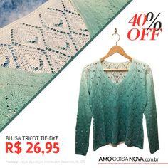 Essa blusa de tricot com tingimento em tie dye é sempre uma combinação perfeita com qualquer jeans! Acesse a loja www.amocoisanova.com.br #liquidação #lojaonline #modafeminina #modafashion #modaparameninas #amocoisanova #inverno2015 #coleçãooutonoinverno