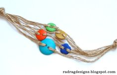 How to make a bracelet from buttons & twine.