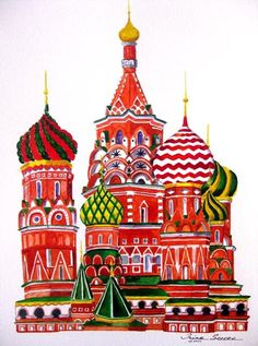 Russian Cathedral print of an original watercolor painting Watercolor And Ink, Watercolor Paintings, Original Paintings, St Basils Cathedral, St Basil's, Building Art, Russian Art, Architecture Art, Russian Architecture
