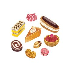 Cake O'Clock. Patisserie illustration by Sara Mulvanny. Mille feuille, chocolate eclair, meringues, strawberry tart, pumpkin pie, macaroon, palmier, swiss roll.