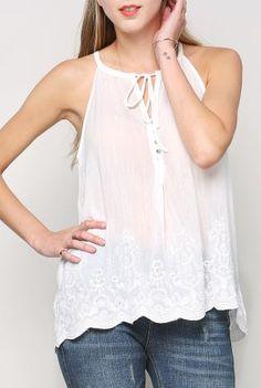 Embroidery Cami Top | Shop Tops at Papaya Clothing