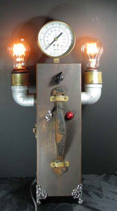 Steampunk Lamp ONE OF A Kind By Mechanique Steampunk. $425.00, via Etsy.