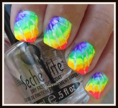 Southern Sister Polish: Tie Dye Nails Damn that's really cute ! Colorful Nail Designs, Cute Nail Designs, Gorgeous Nails, Pretty Nails, Sinful Colors Nail Polish, Gel Polish, Tie Dye Nails, Girls Nails, Rainbow Nails