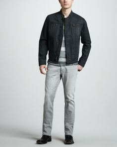 John Varvatos Star USA Four-Pocket Denim Jacket, Striped V-Neck Pocket Tee  & Bowery Bleached Gray Jeans - Neiman Marcus