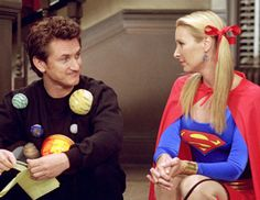 Sean Penn guest stars on friends, here with Phoebe