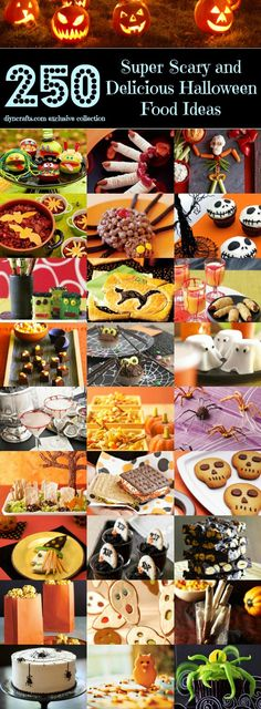 Top 250 Scariest and Most Delicious Halloween Food Ideas. I don't think food could ever scare me (; Recetas Halloween, Soirée Halloween, Halloween Goodies, Halloween Food For Party, Halloween Treats, Halloween Decorations, Halloween Birthday, Halloween Recipe, Halloween Cupcakes