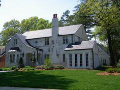 Whitewashed brick house