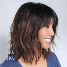 Best Variations of a Medium Shag Haircut for Your Distinctive Style Shaggy Brunette Bob With HighlightsShaggy Brunette Bob With Highlights Brunette Bob With Bangs, Long Bob Haircut With Bangs, Haircuts With Bangs, Lob Bangs, Hair Bangs, Lob Haircut With Bangs, Brunette Haircut, Hairstyles Haircuts, Bob Hairstyles Brunette