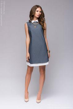 Купить платье-рубашка голубое свободного силуэта в интернет-магазине 1001DRESS