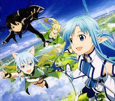 Kirito, Sinon, Leafa, Asuna