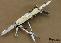 eJohn Watts Sheffield Exhibition Knife 8 Blade Plus Tooth Pick and Tweezers Antique Elephant Ivory Slip Joint Made Between 1920's - 1930's - John Watts custom knife - image 1