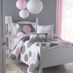 take a look at this pink gray pink parade comforter set today