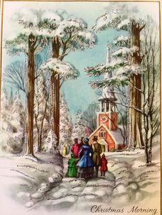 RARE STUNNING Vintage Christmas Card Glittered Snow Family Church 1960 Envelope