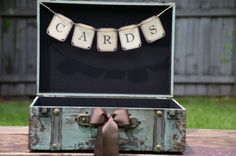 Wedding Card Holder, Vintage Style Suitcase Card Box, Turquoise Suitcase, Rustic Trunk