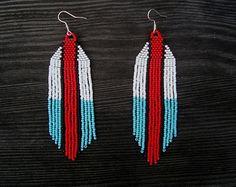 CrimsonCall - Large Beaded Earrings Long Fringe