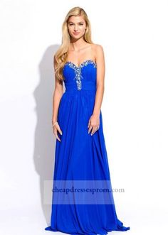 Long Royal Strapless Cheap Prom Dresses